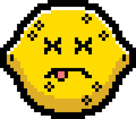 limon caricatura: An illustration of a lemon looking dead in an 8-bit cartoon style. Vectores