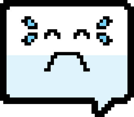 An illustration of a word balloon crying in an 8-bit cartoon style.