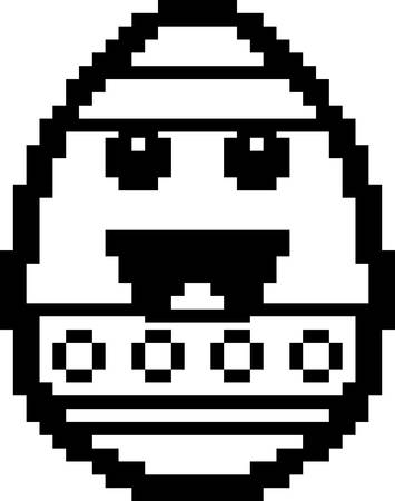 8bit: An illustration of an Easter egg smiling in an 8-bit cartoon style.