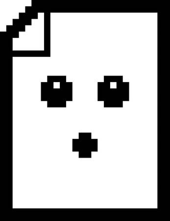 8bit: An illustration of a piece of paper looking surprised in an 8-bit cartoon style.
