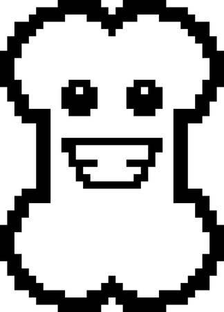 An illustration of a bone smiling in an 8-bit cartoon style.