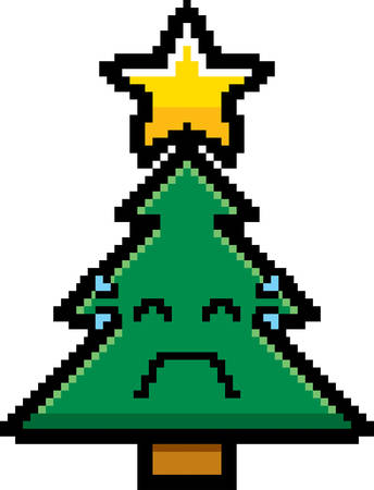 8bit: An illustration of a Christmas tree crying in an 8-bit cartoon style.