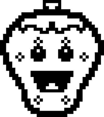 8bit: An illustration of a strawberry smiling in an 8-bit cartoon style.