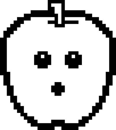 An illustration of an apple looking surprised in an 8-bit cartoon style.