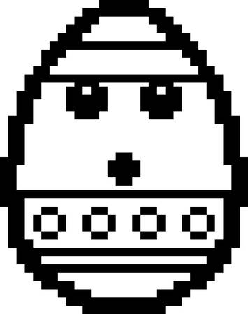 An illustration of an Easter egg looking surprised in an 8-bit cartoon style. Ilustrace