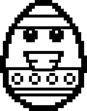 An illustration of an Easter egg smiling in an 8-bit cartoon style.