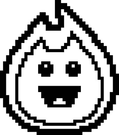An illustration of a flame smiling in an 8-bit cartoon style. Ilustrace