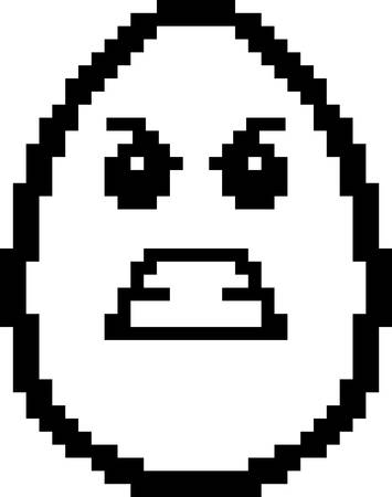 An illustration of an egg looking angry in an 8-bit cartoon style.
