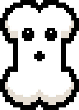 8bit: An illustration of a bone looking surprised in an 8-bit cartoon style.