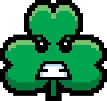 8bit: An illustration of a shamrock looking angry in an 8-bit cartoon style.