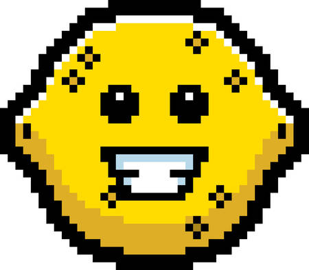 8bit: An illustration of a lemon smiling in an 8-bit cartoon style.