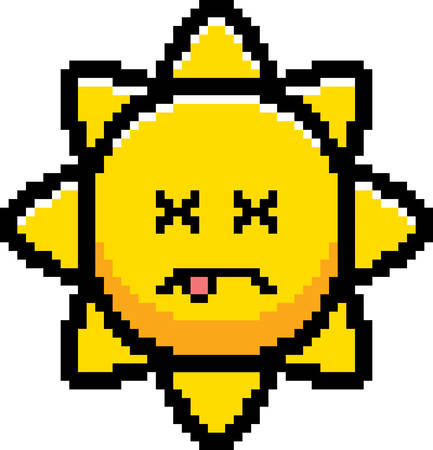 An illustration of the sun looking dead in an 8-bit cartoon style. Ilustrace
