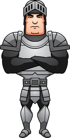 A cartoon illustration of a male knight with arms crossed.