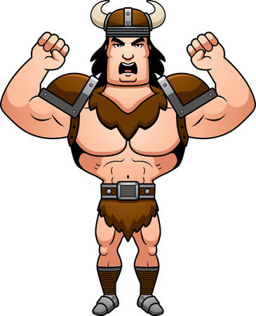 barbarian: A cartoon illustration of a barbarian man looking angry. Illustration