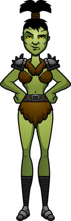 cocky: A cartoon illustration of a orc woman looking confident.
