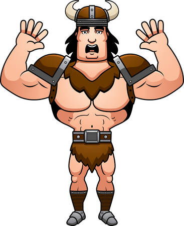 surrendering: A cartoon illustration of a barbarian man surrendering. Illustration