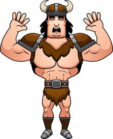 barbarian: A cartoon illustration of a barbarian man surrendering. Illustration