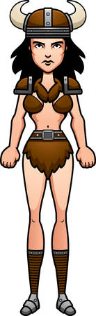 woman standing: A cartoon illustration of a barbarian woman standing.