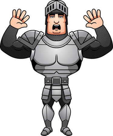 surrendering: A cartoon illustration of a male knight surrendering. Illustration