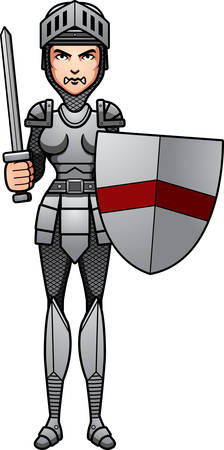 battle: A cartoon illustration of a female knight ready for battle.