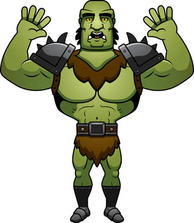 surrendering: A cartoon illustration of a orc man surrendering. Illustration