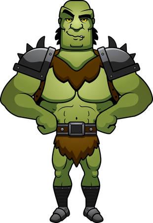 confident: A cartoon illustration of a orc man looking confident. Illustration