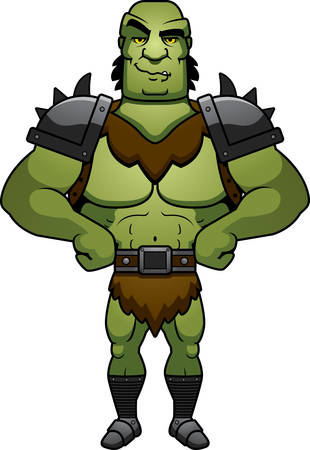 A cartoon illustration of a orc man looking confident. Illustration