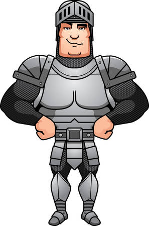 A cartoon illustration of a male knight looking confident. Illustration
