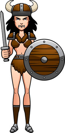barbarian: A cartoon illustration of a barbarian woman ready for battle. Illustration