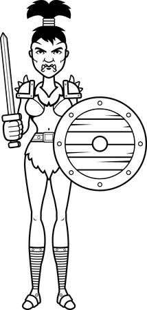 battle: A cartoon illustration of a orc woman ready for battle. Illustration