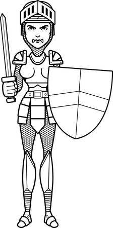 medieval woman: A cartoon illustration of a female knight ready for battle.