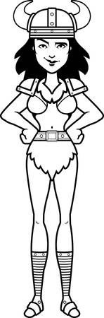confident: A cartoon illustration of a barbarian woman looking confident.