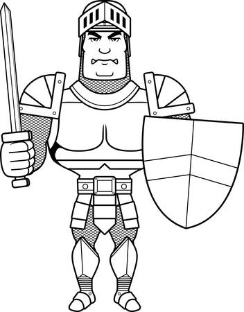 battle: A cartoon illustration of a male knight ready for battle.