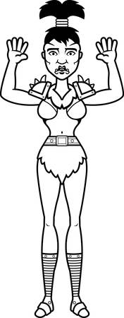 surrendering: A cartoon illustration of a orc woman surrendering.