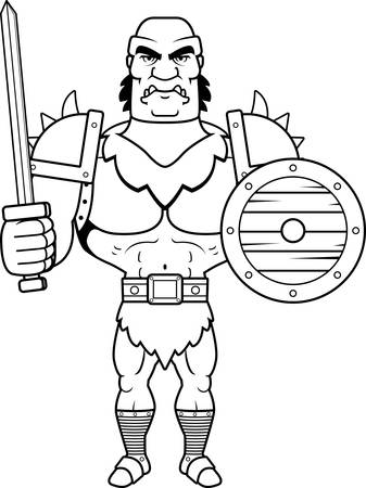 battle: A cartoon illustration of a orc man ready for battle.