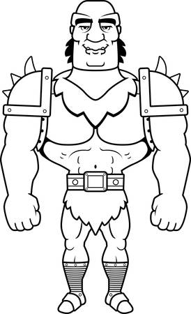 guy standing: A cartoon illustration of a orc man smiling.