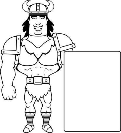 barbarian: A cartoon illustration of a barbarian man with a sign.