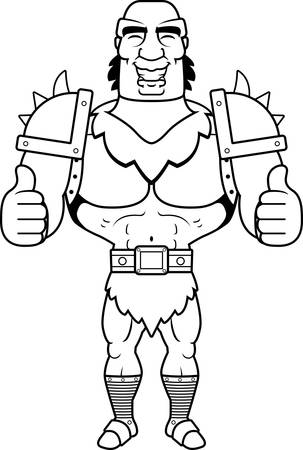 thumbsup: A cartoon illustration of a orc man giving a thumbs up sign.