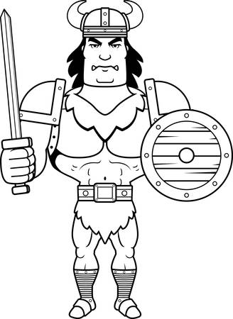 barbarian: A cartoon illustration of a barbarian man ready for battle. Illustration