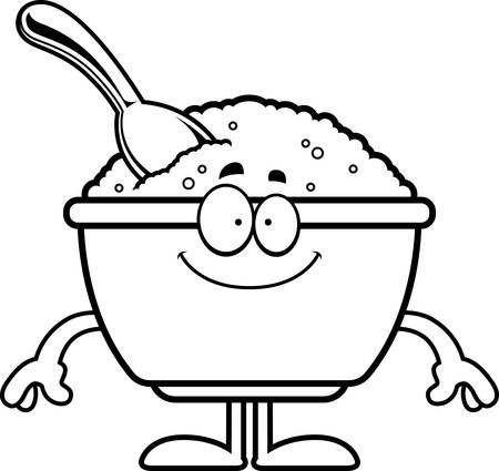 A cartoon illustration of a bowl of oatmeal looking happy. Ilustracja