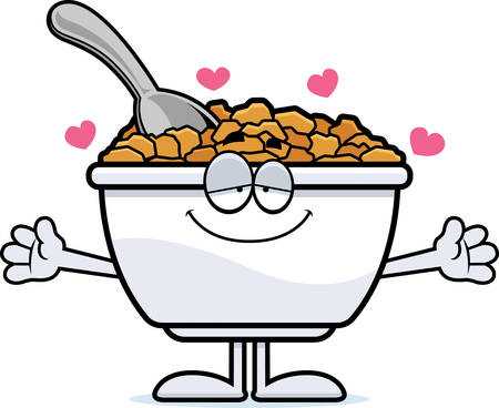 cereal bowl: A cartoon illustration of a bowl of cereal ready to give a hug. Illustration