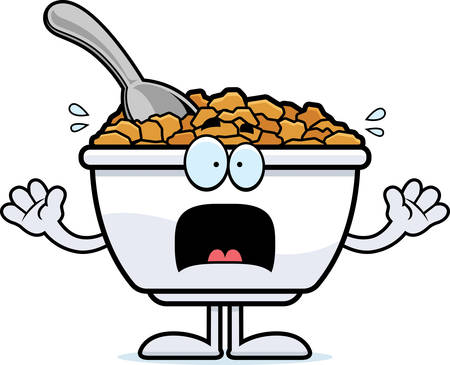 bowl of cereal: A cartoon illustration of a bowl of cereal looking scared.