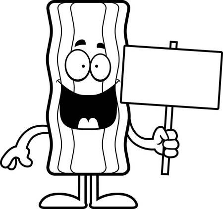 Een cartoon illustratie van een spek strip met een bordje.