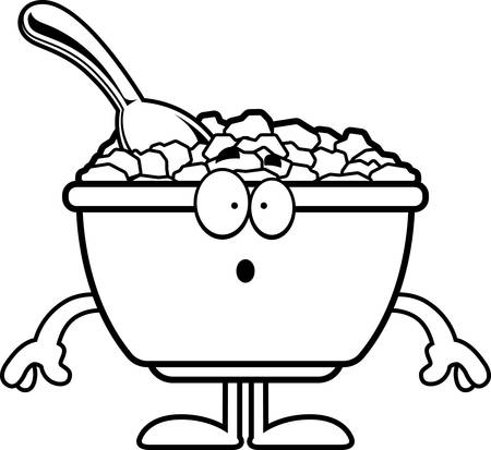cereal bowl: A cartoon illustration of a bowl of cereal looking surprised.