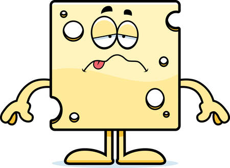 nauseous: A cartoon illustration of a slice of Swiss cheese looking sick.