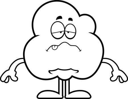 A cartoon illustration of a popcorn kernel looking sick. Иллюстрация
