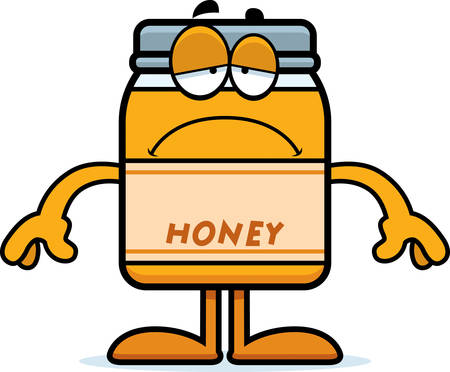 A cartoon illustration of a honey jar looking sad.