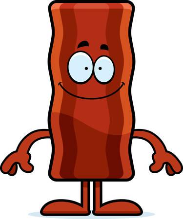 bacon art: A cartoon illustration of a bacon strip looking happy. Illustration