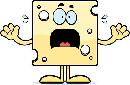 A cartoon illustration of a slice of Swiss cheese looking scared.