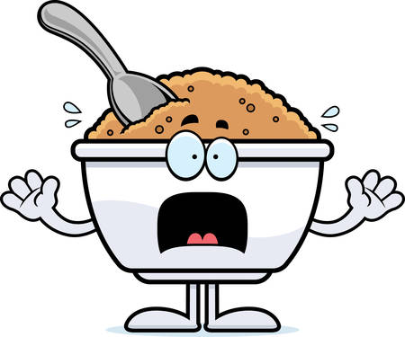 A cartoon illustration of a bowl of oatmeal looking scared.